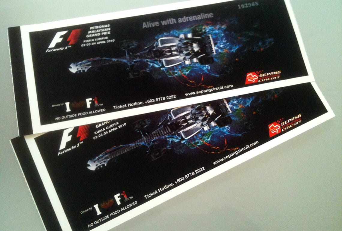 Tickets formula 1 race
