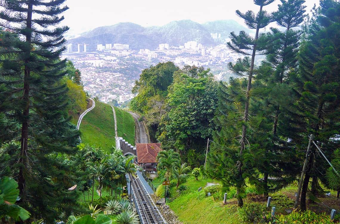 Trein de berg op bij Penang Hill