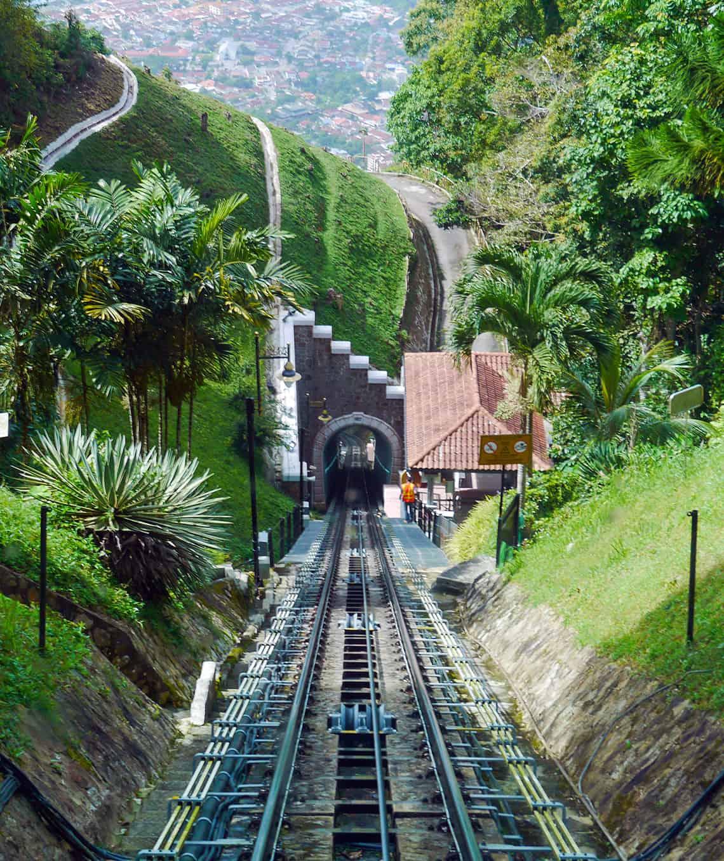 De berg op bij Penang Hill